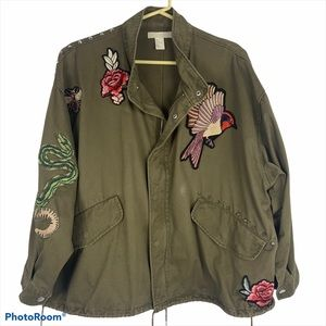 H&M Embroidered Patch Army Utility Jacket M